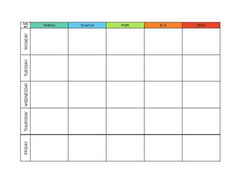 Simple Lesson Plan Binder Grid