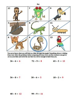 Simple Long Division Worksheet (Jungle Themed)
