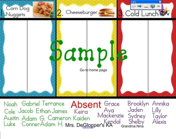 Simple Lunch Choice Sign-In for the Smartboard