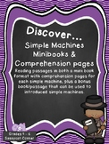 Simple Machine Mini Books and Reading Passages with Comprehension Pages