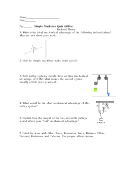 Simple Machine Quiz (lever, Pulleys, inclined plane)
