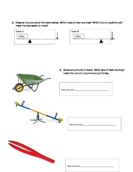 Simple Machine Vocabulary and Classes of Levers Quiz