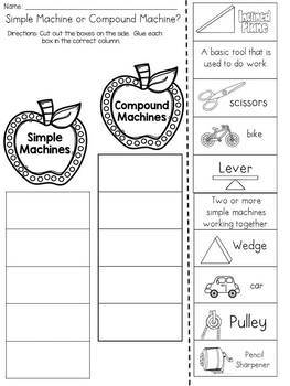 Simple Machine or Compound Machine? Cut and Paste Sorting Activity