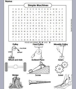 Simple Machines Unit: Simple Machines Word Search/ Coloring Sheet