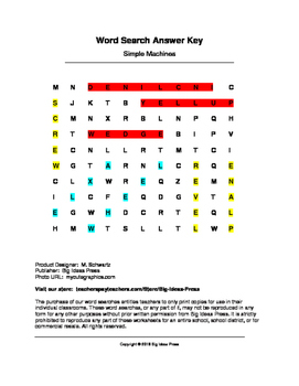 Simple Machines Word Search (Grades 1-3)