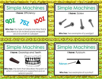 Simple Machines Activity - I Have, Who Has?