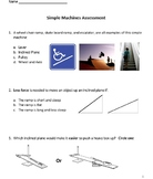 Simple Machines Assessment (with visuals) & Answer Key & Smart Board--Grades 3-5