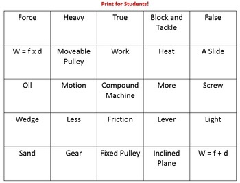 Simple Machines Bingo Review Game w/Key & Slideshow Examples of Simple Machines