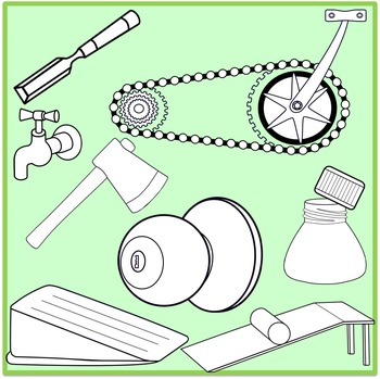 Simple Machines Clipart (Inclined Plane, Wheels and Axle, Gears, Screw, Wedges)