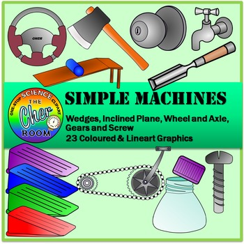 Simple Machines Clipart (Inclined Plane, Wheels and Axle,