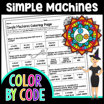 SIMPLE MACHINES SCIENCE COLOR BY NUMBER, QUIZ