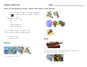 Simple Machines Crossword - ELL, ESOL, LEP, NEP, energy, wheel, pulley