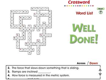 Simple Machines: Crossword - NOTEBOOK Gr. 5-8