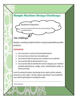 Simple Machines Design Challenge + more - STEM/STEAM Project Based Learning