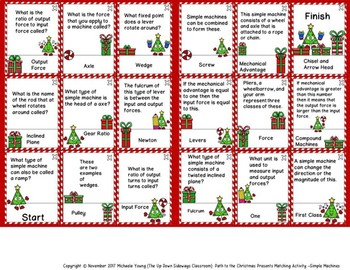 Simple Machines Differentiated Matching Activity -Path to the Christmas Presents