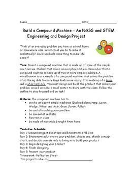 NGSS Simple Machines Design and Engineering Project 3-5-ETS1, MS-ETS1
