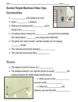 Simple Machines Eureka! Series Video Clips Lesson and Graphic Organizer