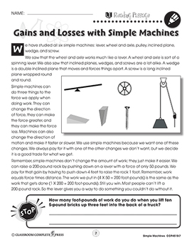 Simple Machines: Gains and Losses with Simple Machines Gr. 5-8