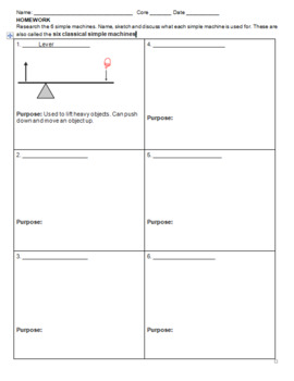 Simple Machines Homework Worksheet