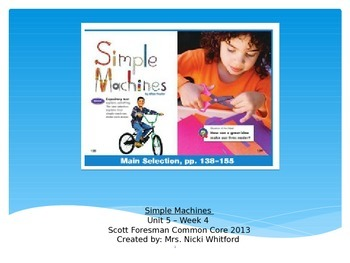 """""""Simple Machines"""" Instructional Guide for Reading Street 2013"""