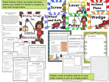 Simple Machines Bundle- Interactive Activities, Printables, and Rotation Day
