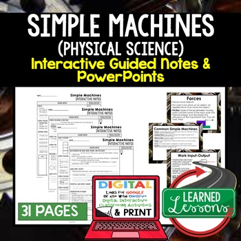 Simple Machines Guided Notes and PowerPoints NGSS, Google