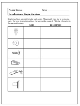Simple Machines - Intro/ Warm-up / Cut and Paste/ Vocab Sheet