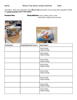 Simple Machines Investigation Using Mouse Trap Board Game