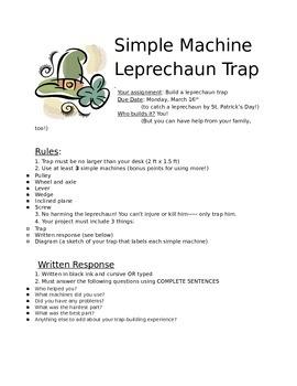 Simple Machines Leprechaun Trap Project