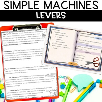 Simple Machines Levers Nonfiction Article and Activity