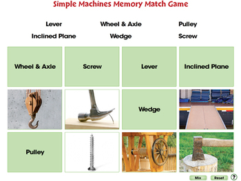 Simple Machines: Memory Match Game - MAC Gr. 5-8