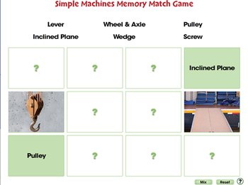 Simple Machines: Memory Match Game - NOTEBOOK Gr. 5-8