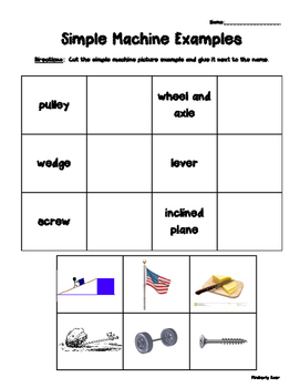 Simple Machines Pack! Vocabulary, Matching, Sorting, Practice Quiz and more!