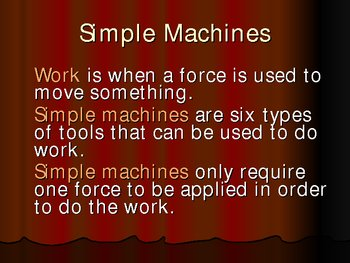 Simple Machines Power Point Vocabulary Preview Review