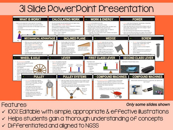 Simple Machines PowerPoint, Notes & Exam (Differentiated and Editable)