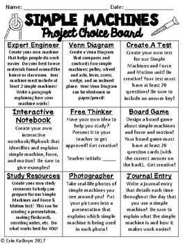 Simple Machines Project Choice Board
