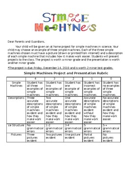 Simple Machines Project and Rubric