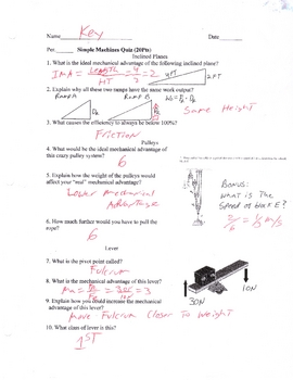 Simple Machines Quiz Version 2 (plane level Pulleys)