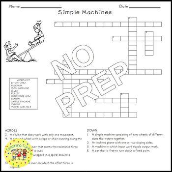 Simple Machines Science Crossword Puzzle Coloring Worksheet Middle School