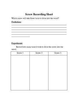 Simple Machines: Screw Lesson Plan & Screw Activity
