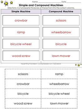 Simple Machines: Simple and Compound Machines Cut and Paste Activity #1