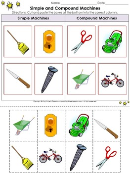 Simple Machines: Simple and Compound Machines Cut and Paste Activity #3 Pictures