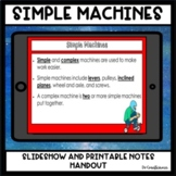 Simple Machines Slideshow + Guided Notes Printable - Lever Pulley Inclined Plane