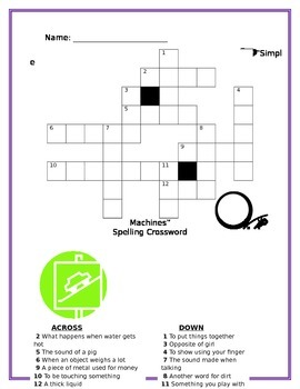 Simple Machines Spelling Crossword