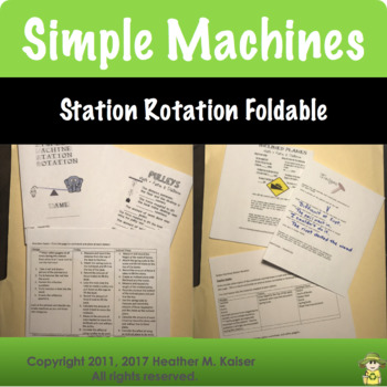 Simple Machines Activities and Foldable