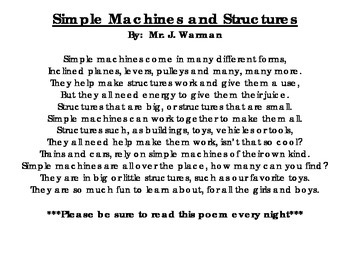 Simple Machines & Structures Poem