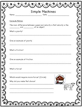 Simple Machines Study Guide and/or Assessment