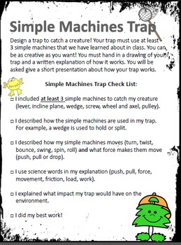 Simple Machines Summative Project - Design a Trap EDITABLE