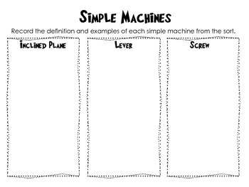 Simple Machines Task Card Sort with Real World Connections- Station activity