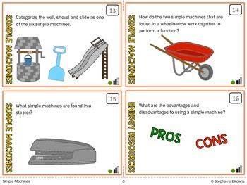 Simple Machines Task Cards (Differentiated and Tiered)